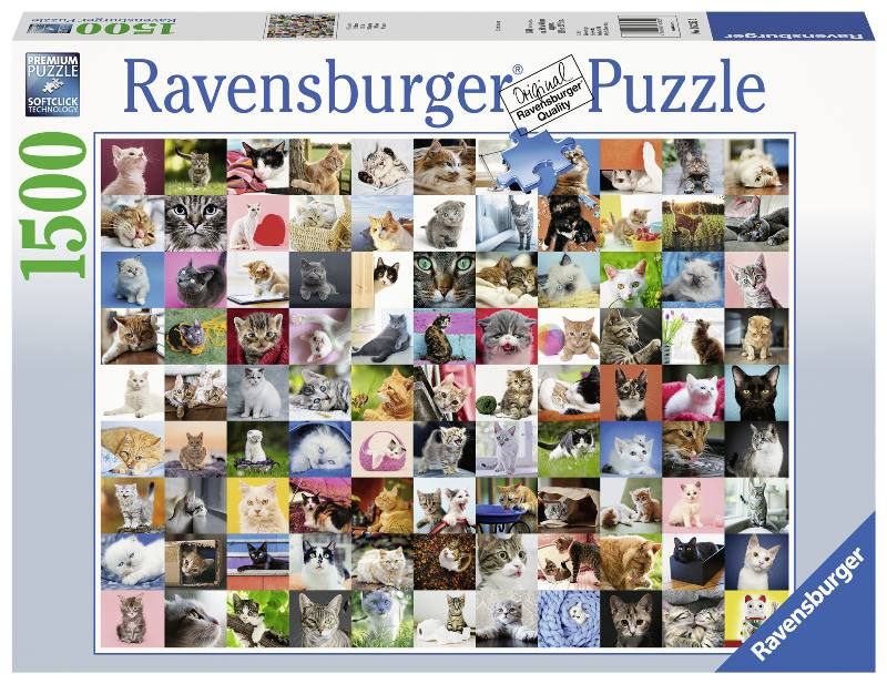 RAVENSBURGER Puzzle 1500 Stücke 99 Katzen Brettspiel